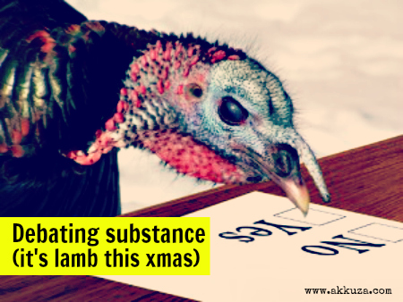 Post image for Debating substance (it's lamb this Christmas)